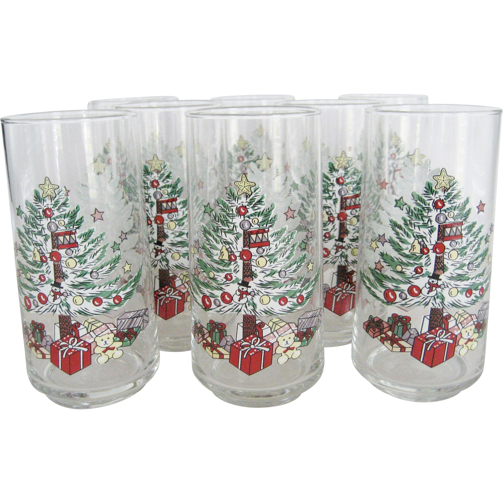 "Set of 8 ""Christmas Memories"" Glasses by Gibson"