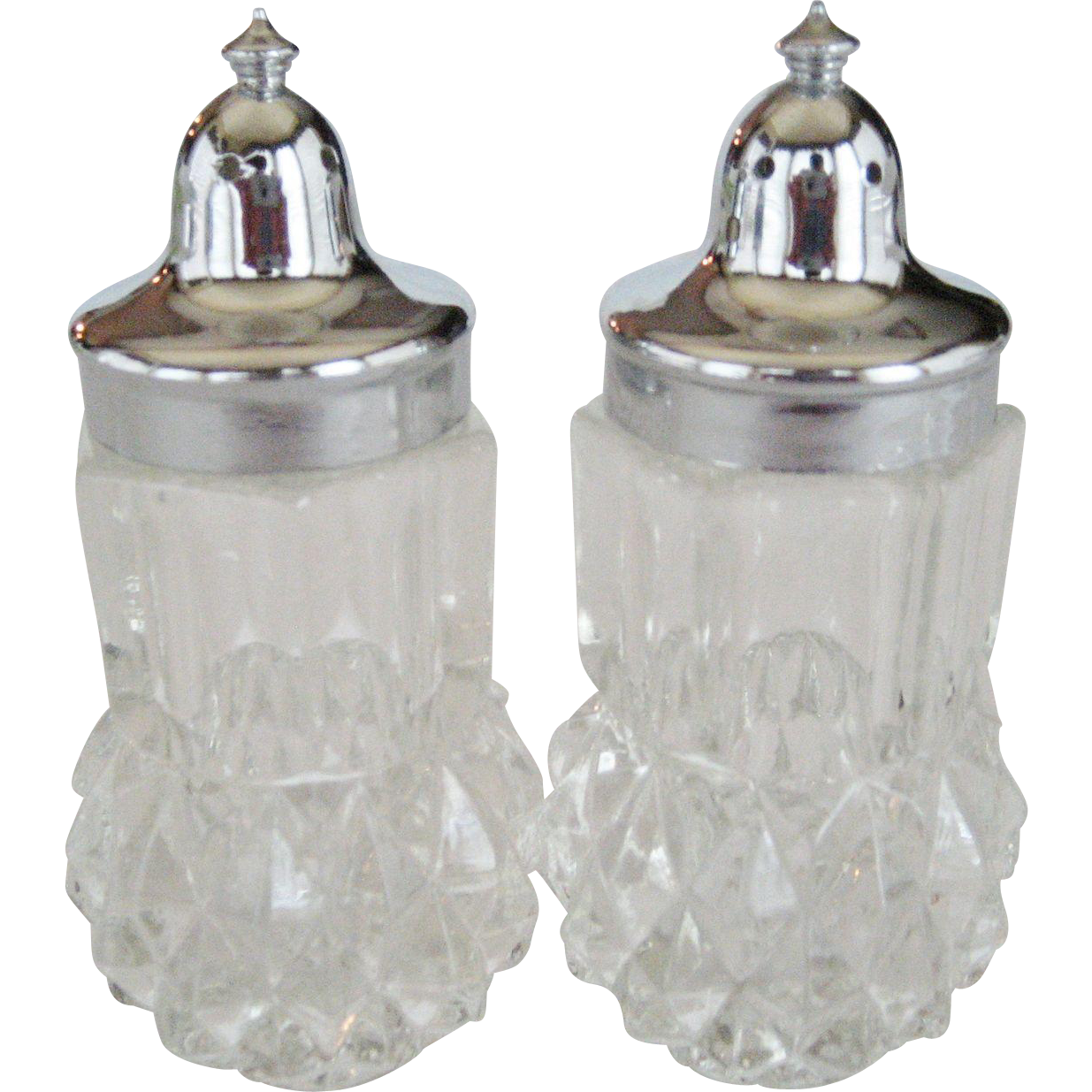 Indiana Glass Diamond Point Salt and Pepper Shakers
