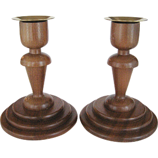 Vermillion Real Walnut Candlesticks