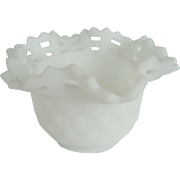 Fenton White Satin Basket Weave Bowl