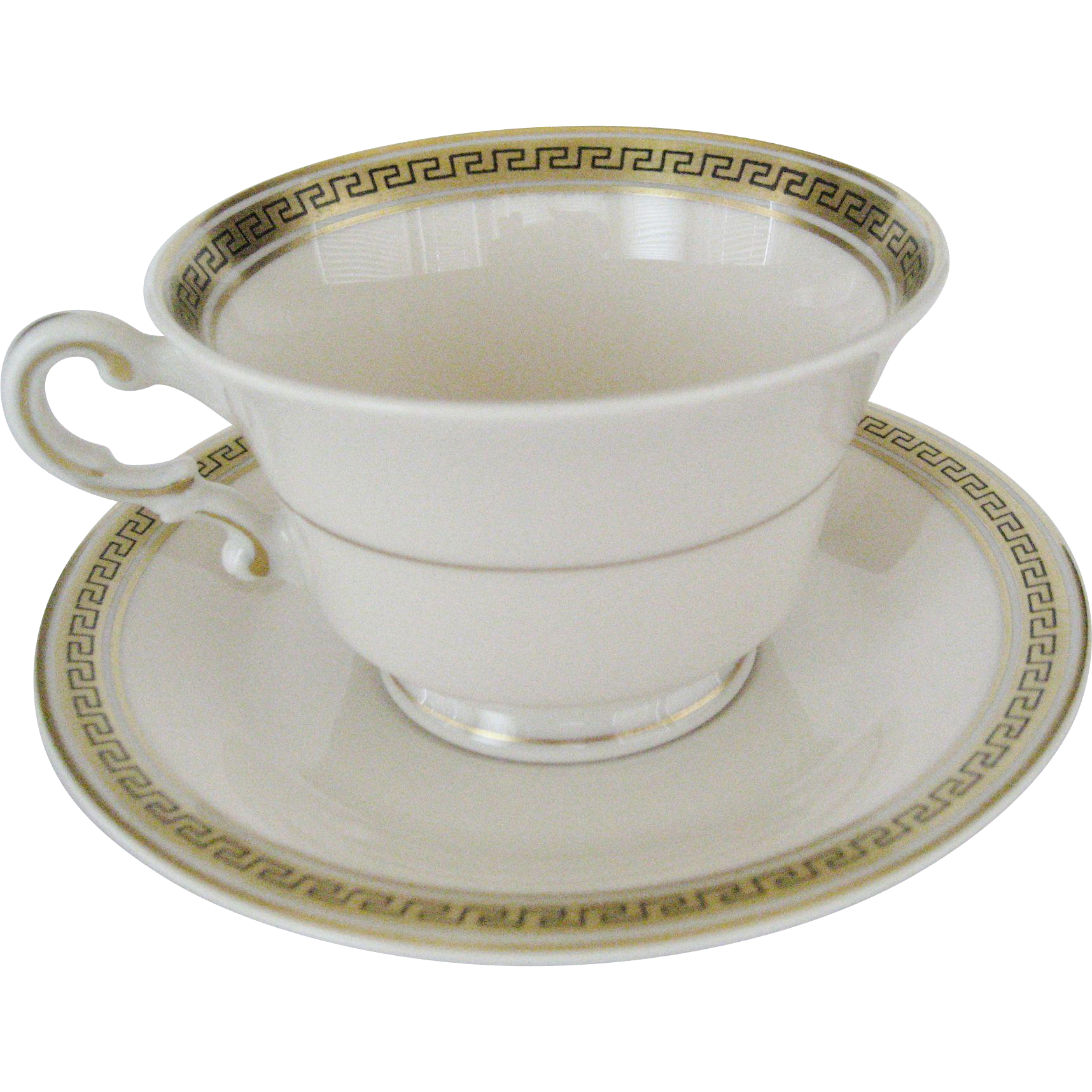 Syracuse Greek Key Cup and Saucer - 5 Available