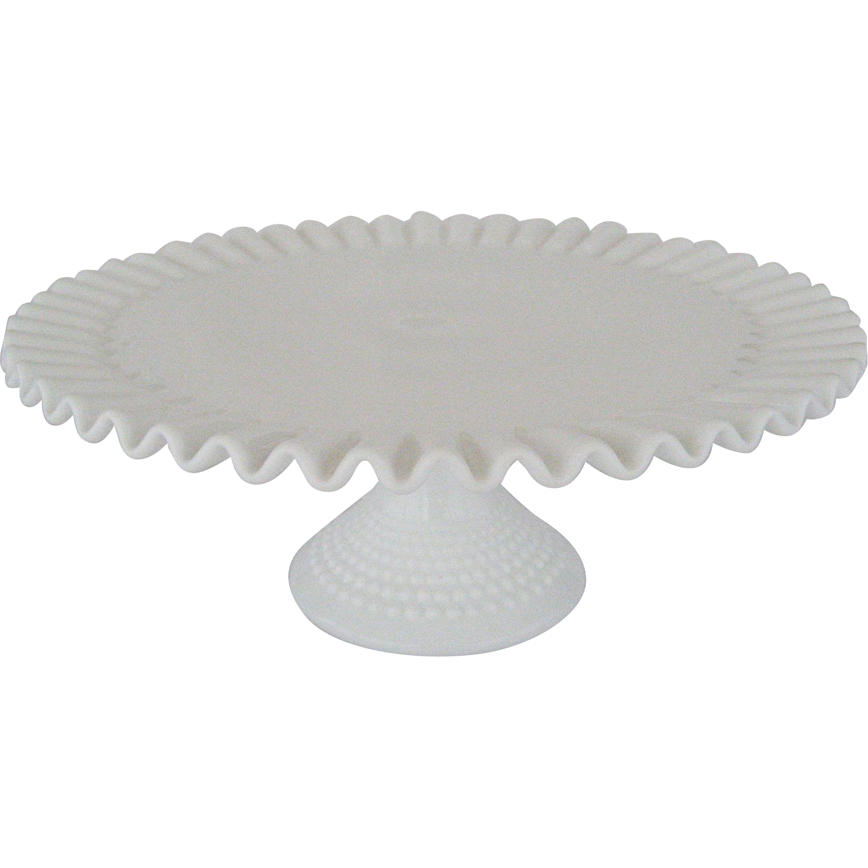 Fenton White Hobnail Footed Cake Plate
