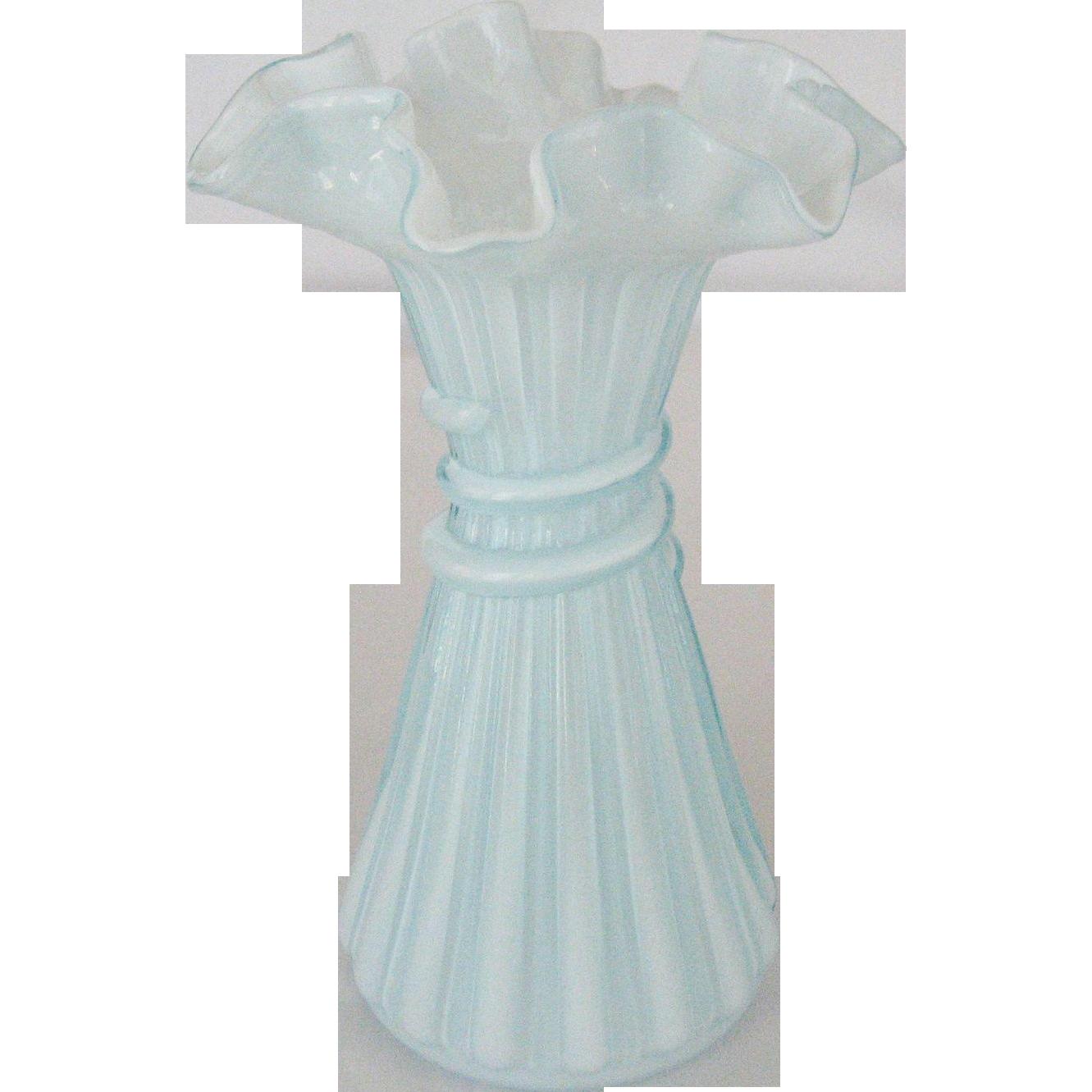 Fenton Blue Cased Wheat Vase