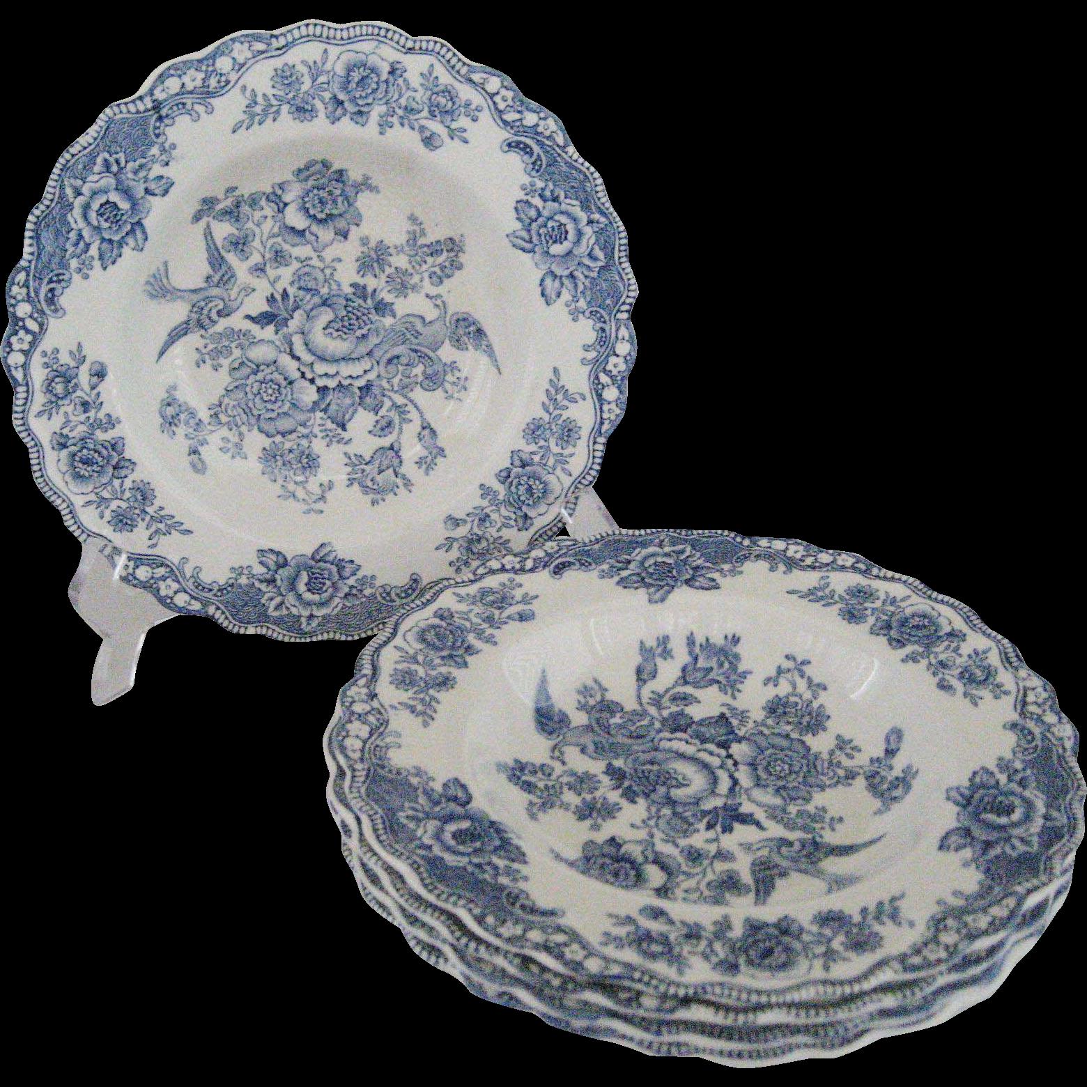 Set of 5 Crown Ducal Bristol Blue Rimmed Soup Bowls