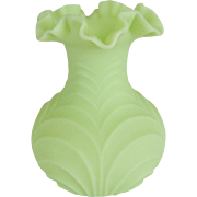 Fenton Lime Sherbet Satin Drapery Vase