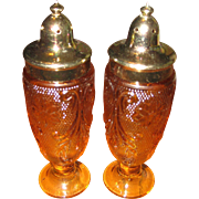 Indiana Amber Sandwich Glass Salt and Pepper Shakers