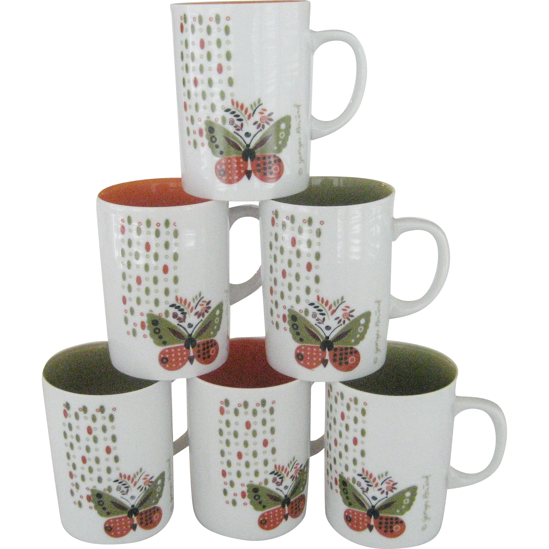 Set of 6 Georges Briard Butterfly Mugs