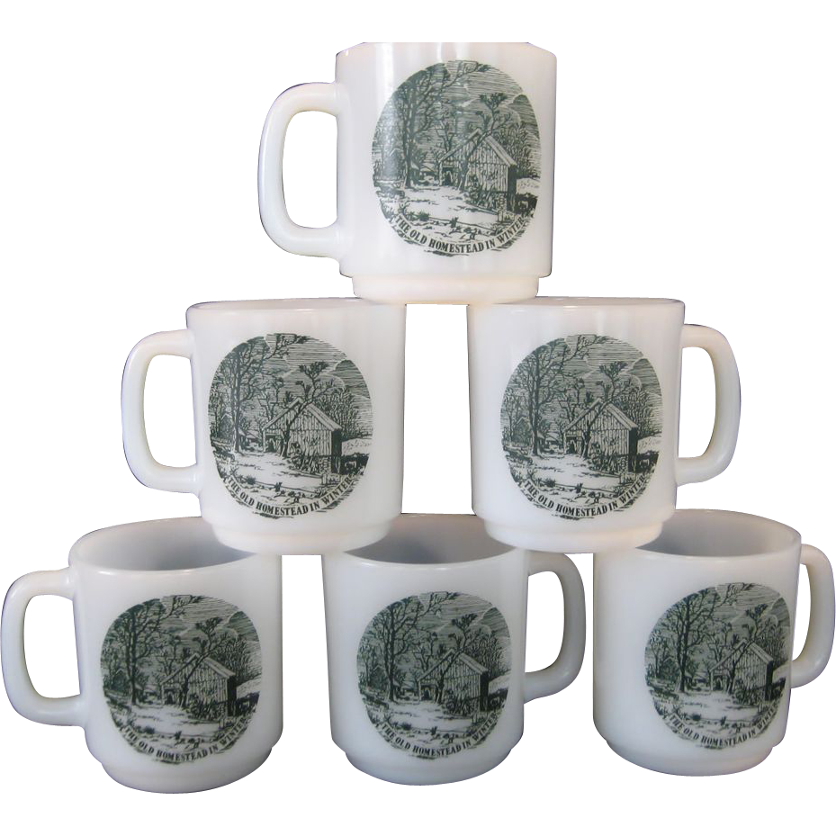 "Set of 6 Glasbake ""The Old Homestead In Winter"" Mugs - Currier & Ives Green"
