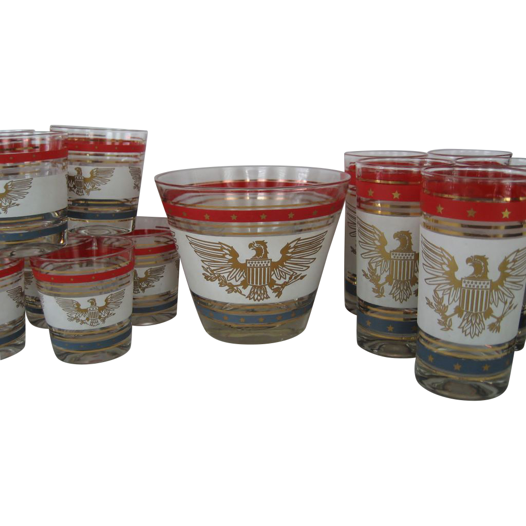 15 Piece Drink/Bar Set in Patriotic Pattern