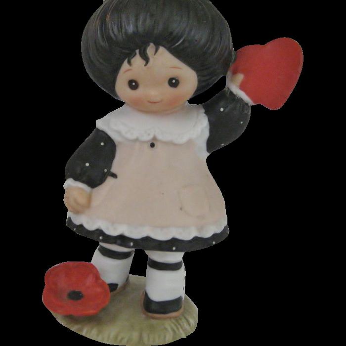 Enesco 1983 Girl Figurine With Heart