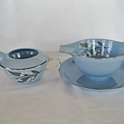 Homer Laughlin Skytone Stardust Gravy Boat and Creamer