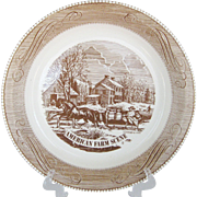 Royal China Currier and Ives Brown Pie Plate