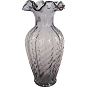 "Fenton 11"" Amethyst Clear Glass Vase"