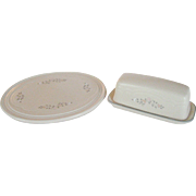 "Pfaltzgraff ""Remembrance"" 1/4 Butter Dish and Oval Trivet"