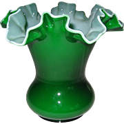 "Fenton 6"" Ivy Overlay Vase - 2 Available"