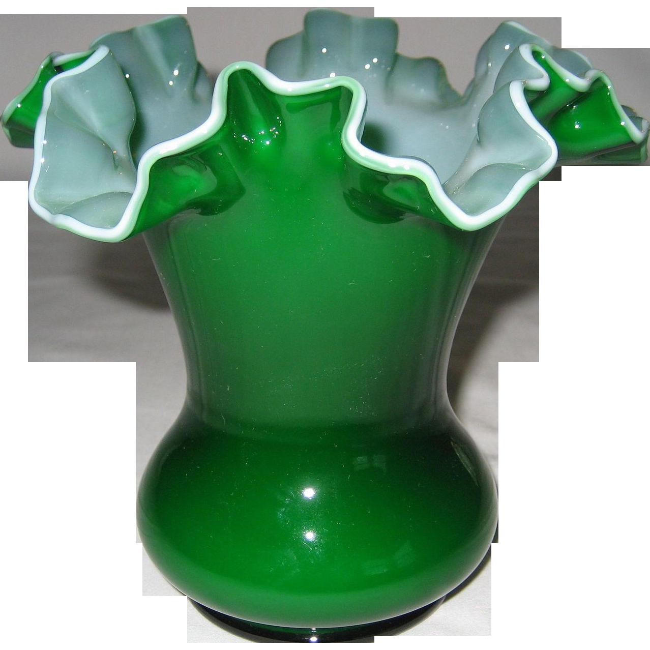 "Fenton 6"" Ivy Overlay Vase - 2 Available"