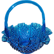 Fenton Colonial Blue Hobnail Basket