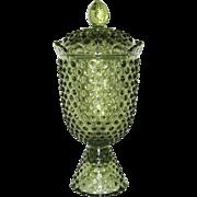 Fenton Green Hobnail Apothecary Jar