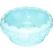 Fenton Aqua/Turquoise Block and Star Cupped Candleholder