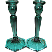 Pair Of Fenton Spruce Green Candlesticks