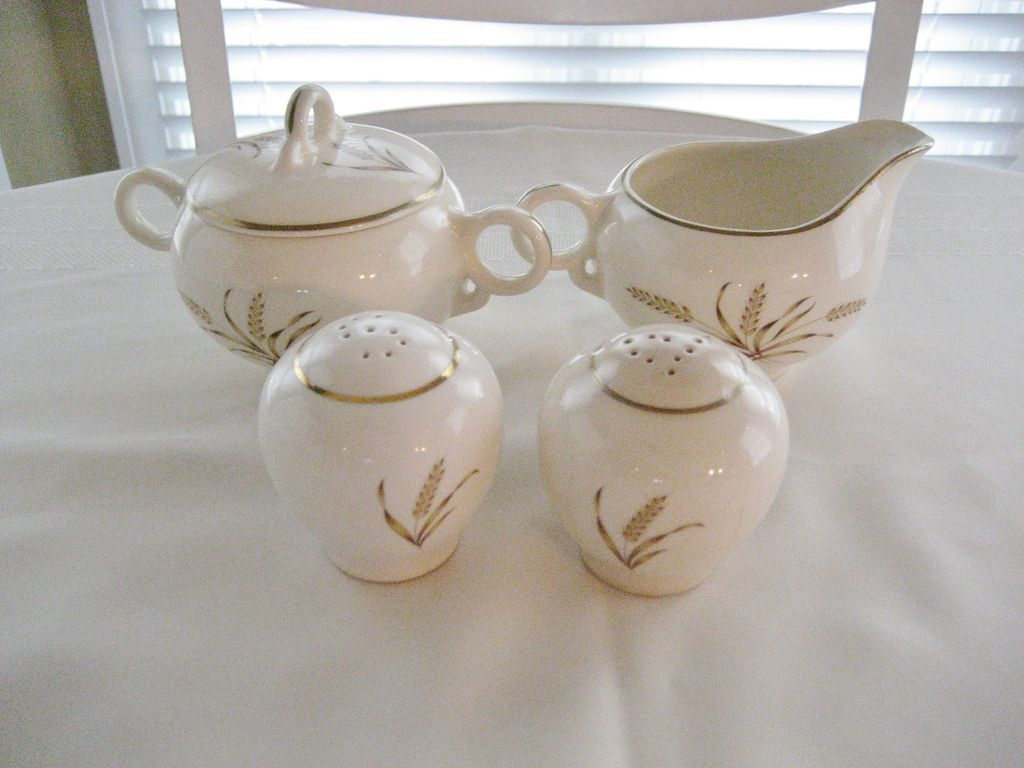 Universal Ballerina Golden Wheat - Creamer, Sugar, Salt and Pepper Shakers