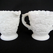 Westmoreland White Milk Glass Creamer and Sugar