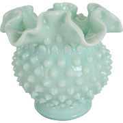 Fenton Green Pastel Milk Glass Hobnail Ball Vase