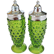 Springtime Green Hobnail Salt and Pepper Shakers