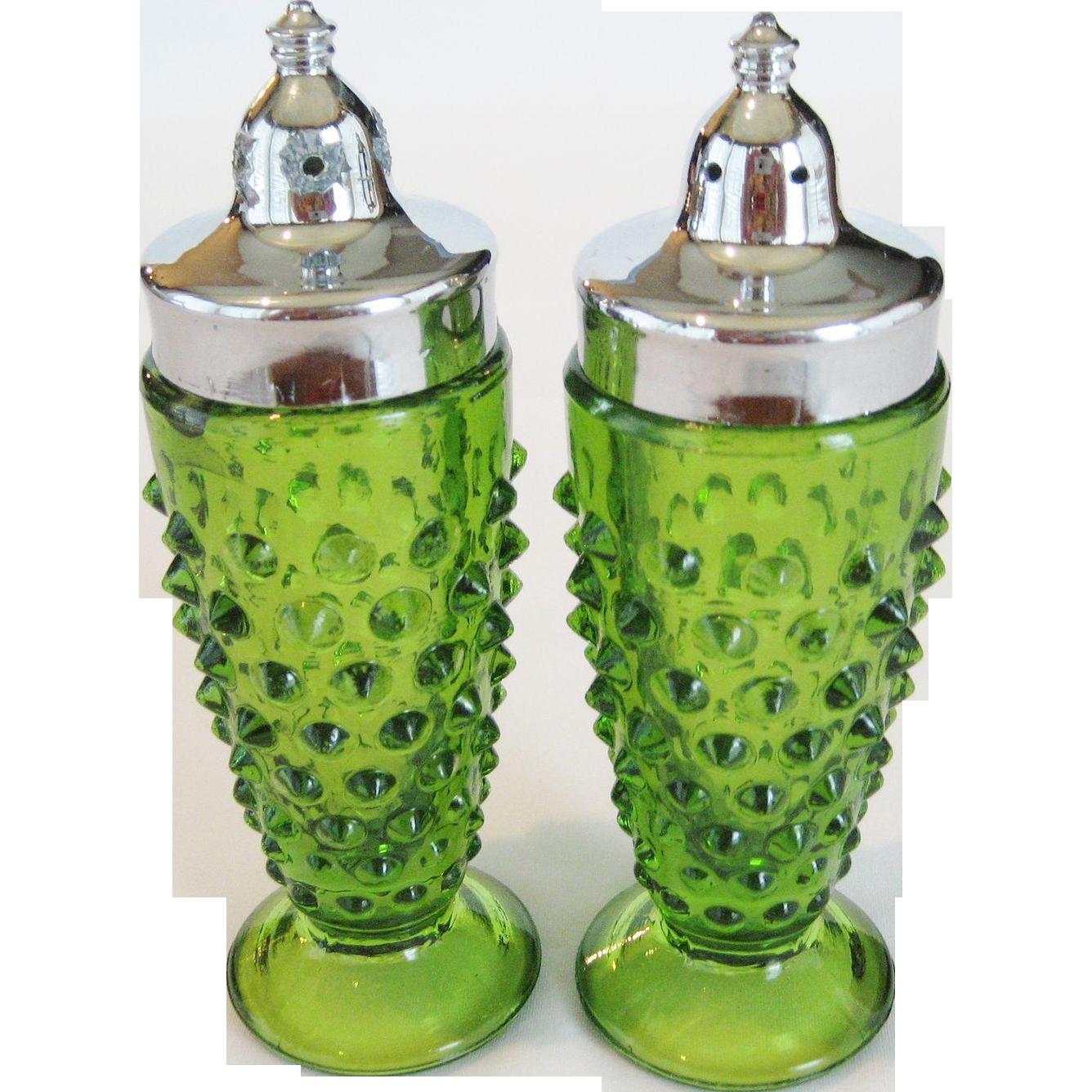 Springtime Green Hobnail Salt and Pepper Shakers