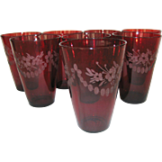 Set of 8 Etched Ruby Red Tumblers