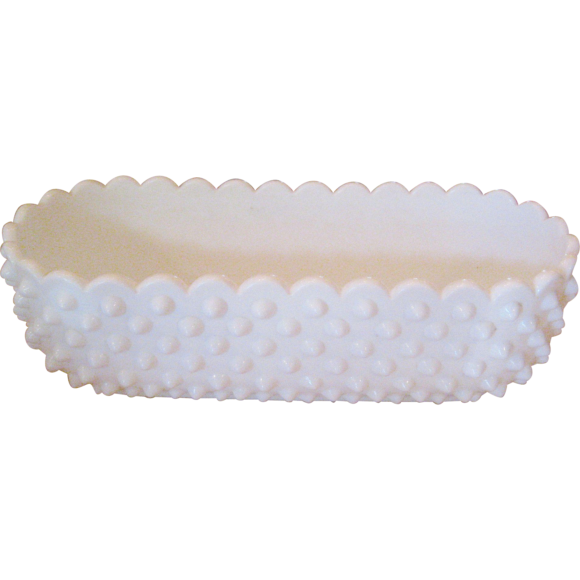 Fenton White Hobnail Oval Planter