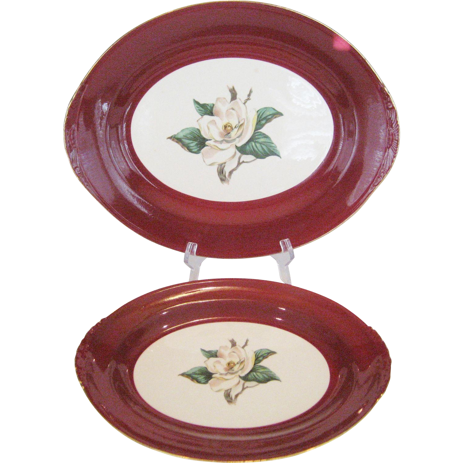 2 Homer Laughlin/Lifetime China Burgundy Platters