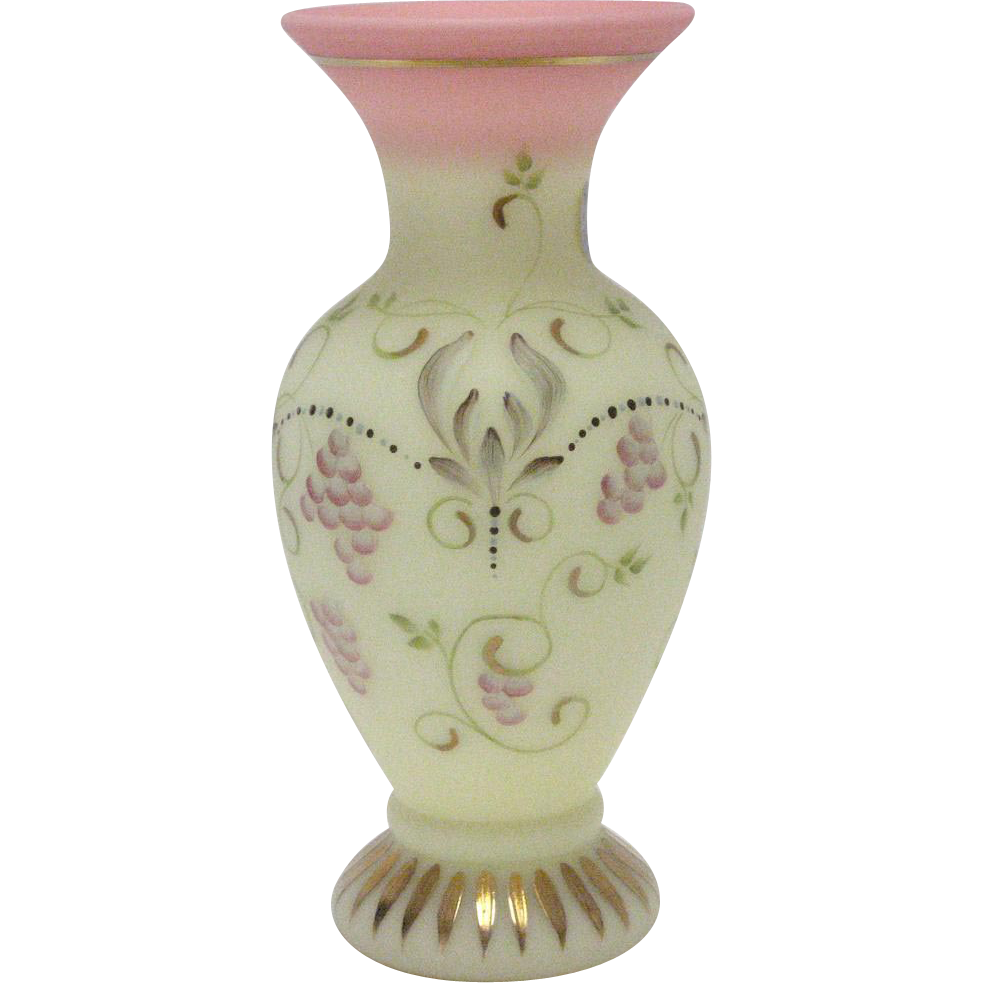 Fenton HP Burmese Vase - Signed and Numbered