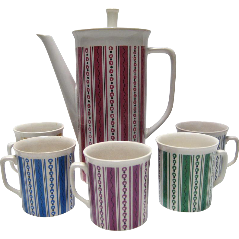 Villeroy & Boch Coffee Pot and 5 Mugs