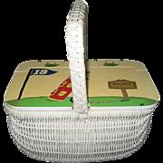 White Wicker Purse - Golf Decor