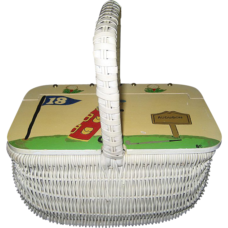 White Wicker Purse - Golf Decor
