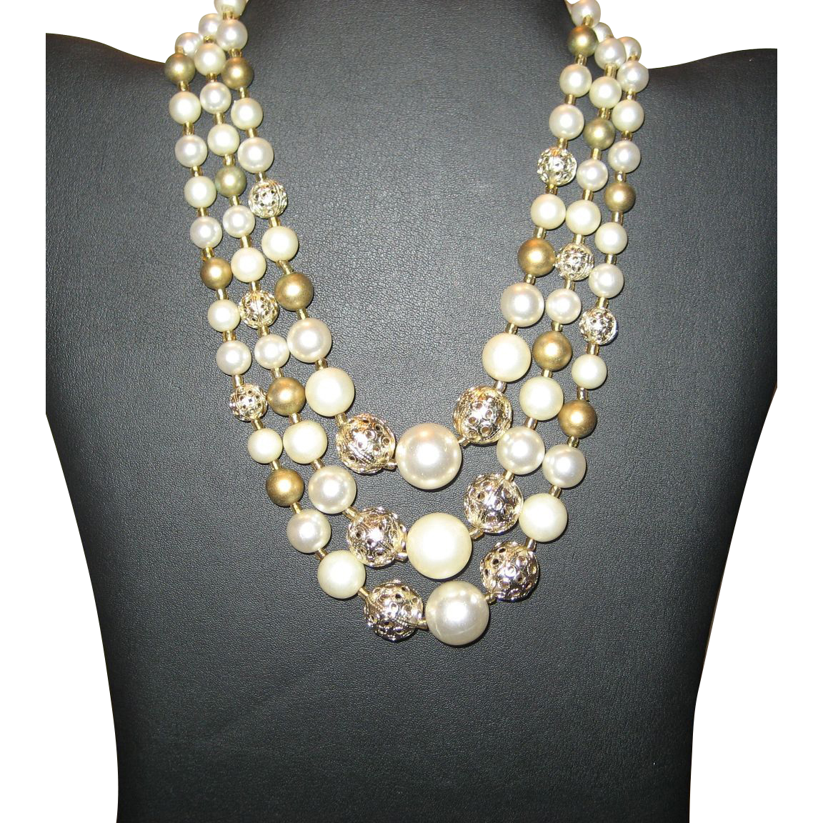 Lovely Beaded 3-Strand Necklace - Japan