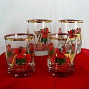 Set of 4 French Horn Old Fashion Christmas Glasses - NIB