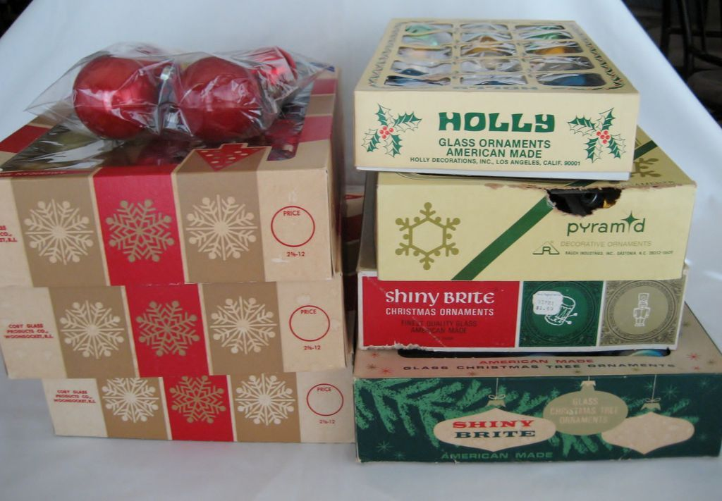 7 Boxes Christmas Ornaments + Extra  Bag Of Misc. Ones