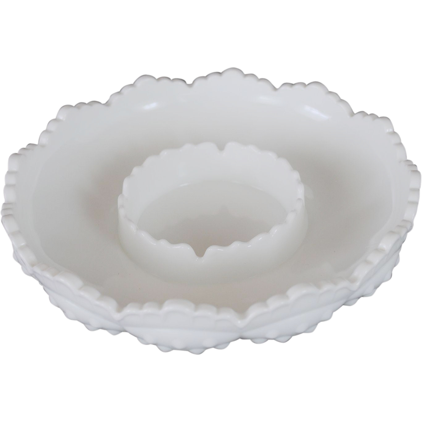 Fenton White Milk Glass Hobnail Ashtray/Dip Bowl