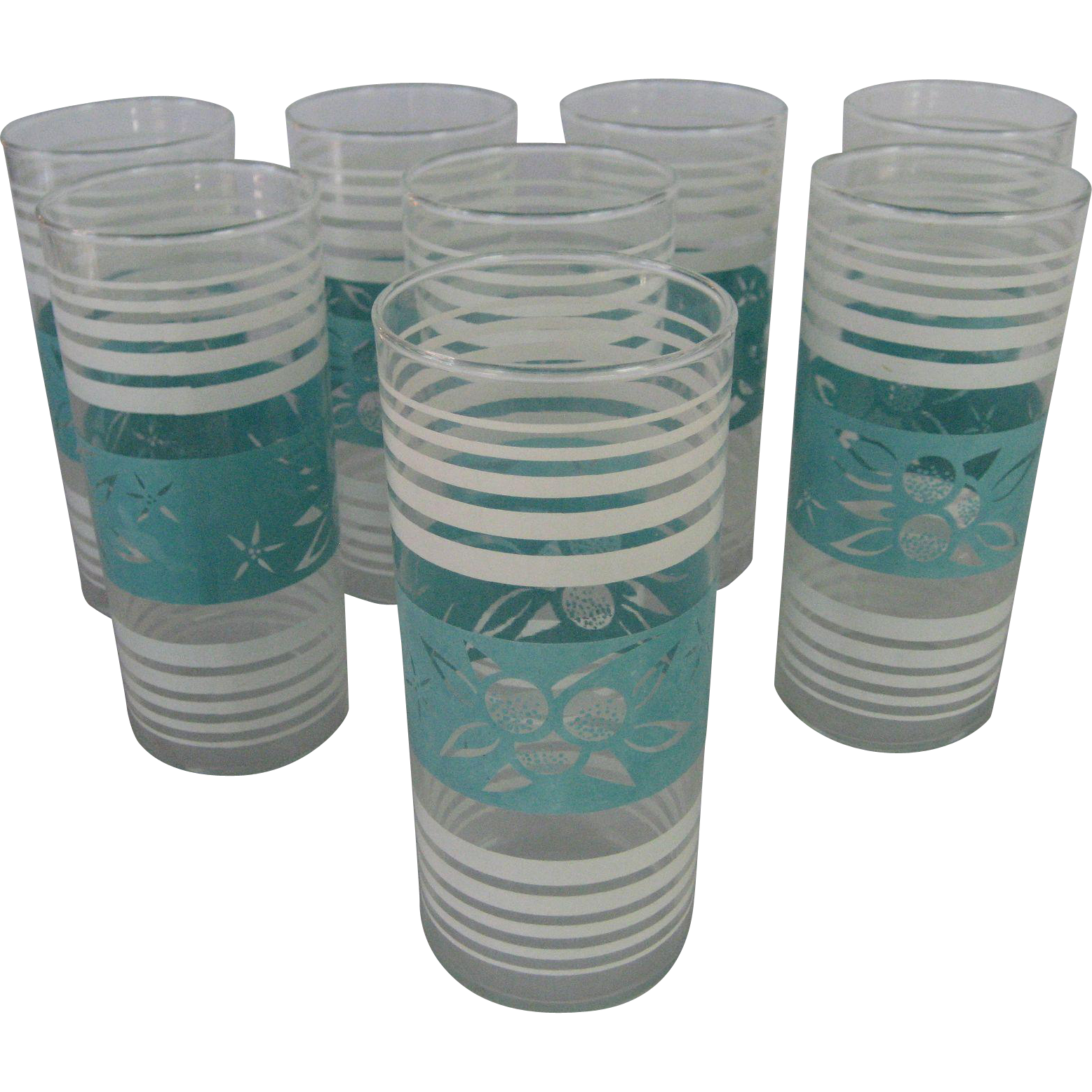 Set of 8 Aqua/Turquoise and White Drinking Glasses