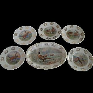 Owen Pottery Game Bird Platter and 5 Plates