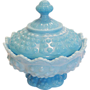 Fenton Blue Marbled Hobnail Covered Candy