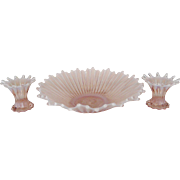 "Fostoria Pink Opalescent ""Heirloom"" Console Set"