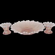 "Fostoria Pink Opalescent ""Heirloom"" Console Set"