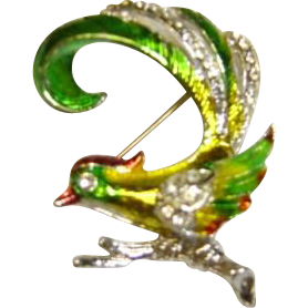 Small Colorful Bird Pin With Pave' Stones