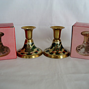 Pair Sold Brass Christmas Candle Holders - In Box