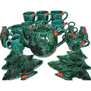 22 Pieces of Lefton Holly Green Christmas Items