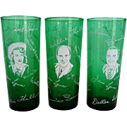 Set of 3 Tall Green Glasses Featuring Stars of The Midwestern Hayride Show