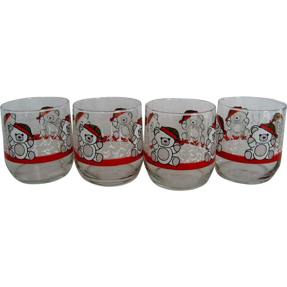 Set of 4 Libbey Christmas Bear Old Fashion Glasses